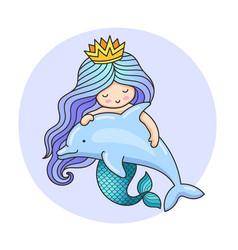 Little dreamy princess mermaid with dolphin vector