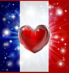 love france flag heart background vector image