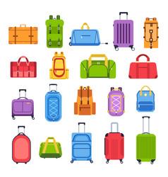 Luggage bags baggage handbag for trip tourism vector