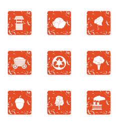 Manufacturing processing icons set grunge style vector