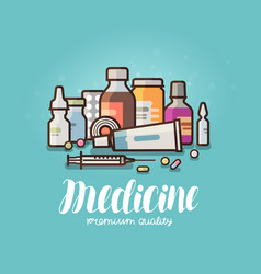 Modern medicine pharmacy banner medication vector