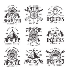 Native american indians emblems isolated on white vector