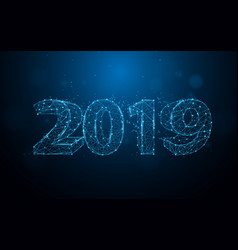 new years 2019 form lines triangles and particle vector image