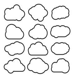 Oblaci prosti lineart2 resize vector image