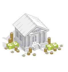 old cartoon bank building with cash money dollar vector image