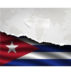 paper with hole and shadows CUBA flag vector image