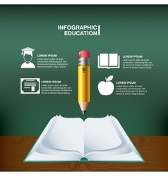 Pencil book and icon set Infographic education vector image