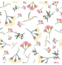 pink and yellow eucalyptus blossom seamless vector image
