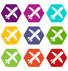 plane icons set 9 vector image