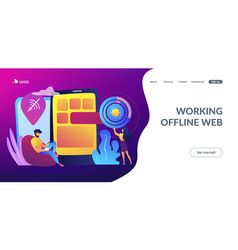 Progressive web app concept landing page vector