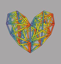 rainbow heart icon colorful polygon on gray vector image