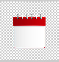 realistic calendar red on transparent background vector image