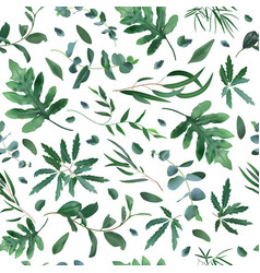 realistic plants pattern seamless leaves vector image