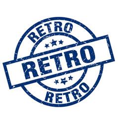retro blue round grunge stamp vector image
