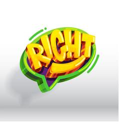 right cartoon icon vector image