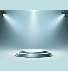 round podium stage in spotlights rays realistic vector image