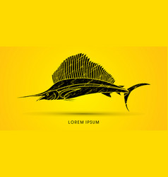 Sailfish side view graphic vector