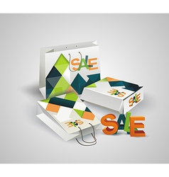 Sale Tag Paper Bags and Box with 3d letters SALE vector