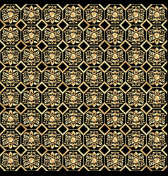 seamless gold classic pattern on a black 2 vector image