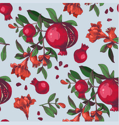 seamless pattern with hand drawn pomegranates vector image