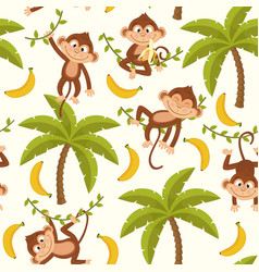 Seamless pattern with monkey on palm tree vector