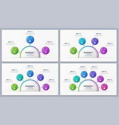 set circle chart templates with 3 4 5 6 7 8 vector image