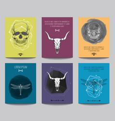 set modern posters with human skulls bull vector image