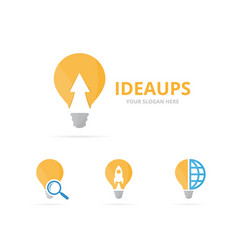 Set of lamp logo combination lightbulb and growth vector