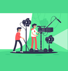 smiling men filming movie with special equipment vector image