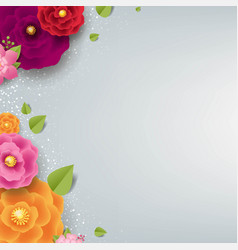 Spring border with color flowers grey background vector