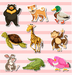 sticker set with wild animals on pink background vector image