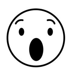 Surprised round emoji vector