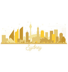 sydney australia city skyline golden silhouette vector image