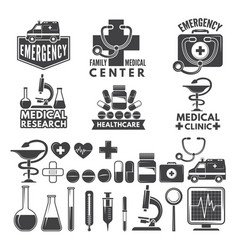 symbols of medicine medical logos and badges vector image