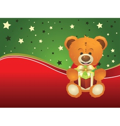 Teddy Bear with Gift Box3 vector image