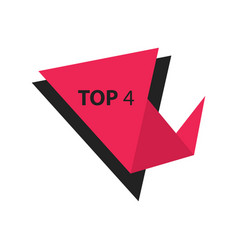 Top4 text in label black pink vector