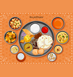 Traditional rajasthani cuisine and food meal thali vector