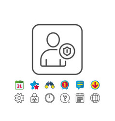 User protection line icon profile avatar sign vector
