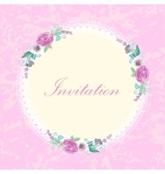 Vintage invitation card with flowers vector image