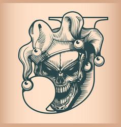 Vintage joker skull monochrome hand drawn tattoo vector