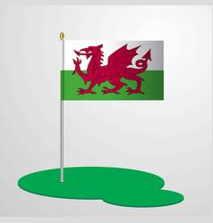 Wales flag pole vector