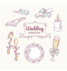 Wedding table decoration in doodle style Hand vector