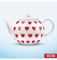 White ceramic teapot with hearts texture vector