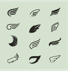 wings icons set 3 vector image