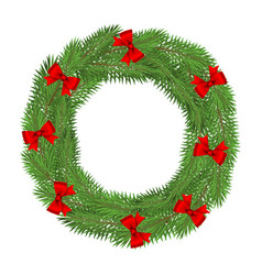 wreath christmas tree branches isolated on a vector image