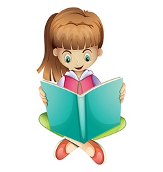 A young girl reading a book seriously vector image