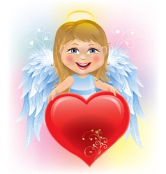 Angel little girl and Valentines Day heart vector image vector image