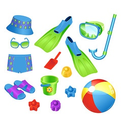 beach accessories vector image vector image