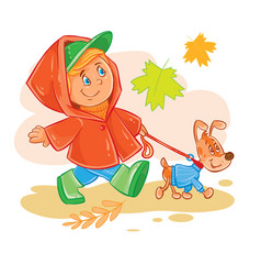 icon of small boy walks with his puppy vector image