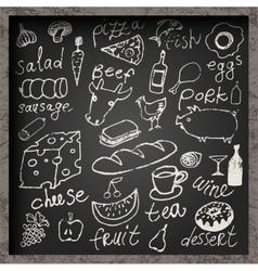 Set of hand-drawn food on chalkboard vector image vector image